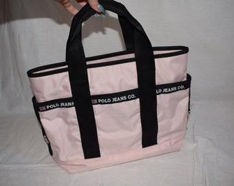 Vintage Polo Jeans Co. Ralph Lauren Pink, black and White Top Handle Bag  Tote e62bcb1972