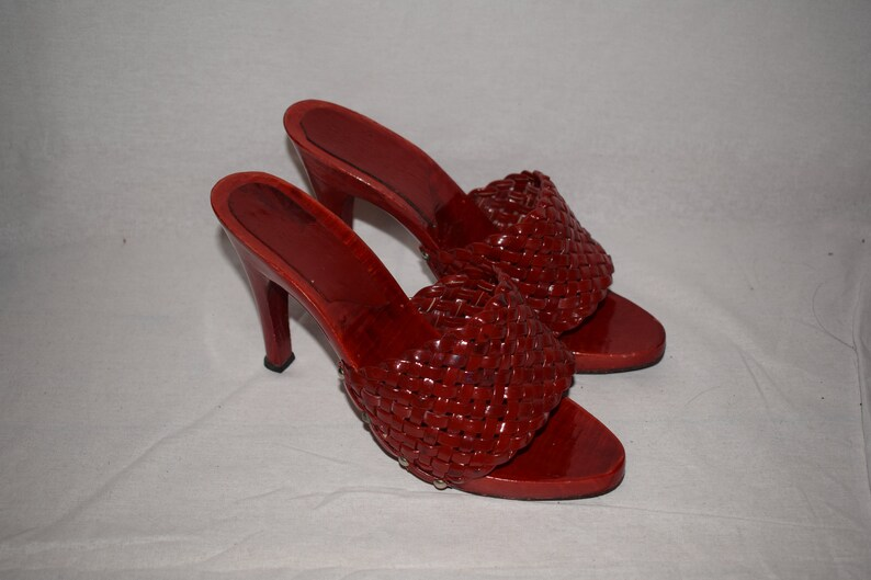 d7586c90a260c Vintage 90's Red High Heeled Mules
