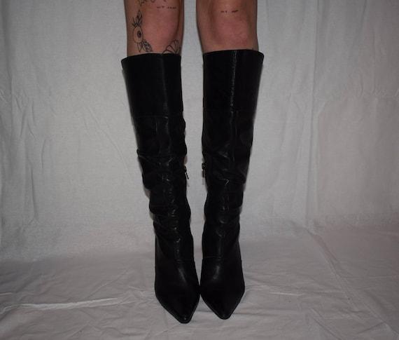 Stiletto High US 7 Knee 5 EU High Black Size UK 5 38 Heel Leather Boots Vintage OERwIqn