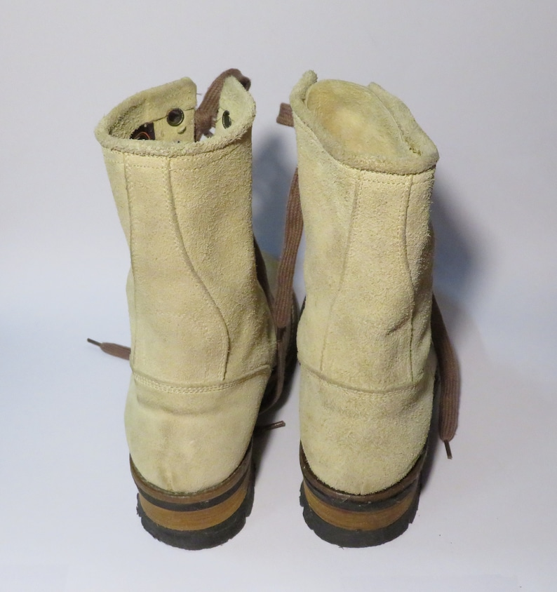 Vintage Beige and Brown Genuine Leather Low Heel Mid Calf Boots Size EU 40 UK 7 US 9