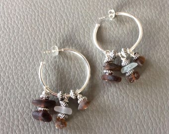 Silver and seaglass loop earrings