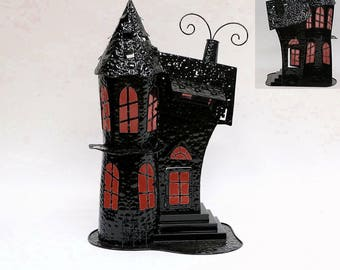 """Spooky Haunted House Halloween Decoration Candle Holder """"Haunted Mansion"""" 22 inches tall"""