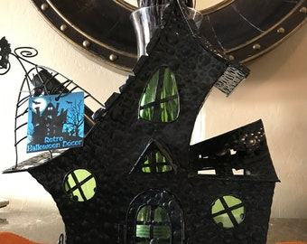 """15 inch Spooky Gothic Haunted House Halloween Candle Holder """"Salem Witch's Cottage"""""""