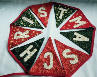 Merry Christmas Bunting banner. Xmas Hanging Decoration fabric handmade