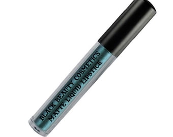 PARANOID Matte Liquid Lipstick // teal lipstick, metallic teal lipstick, water resistant, drag makeup, cosplay makeup,