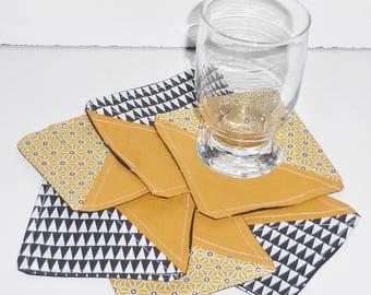 Lot de 6 dessous de verre en tissu graphique moutarde et noir coton