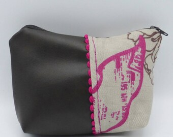Brown and pink fuchsia quilted pouch in faux leather and cotton