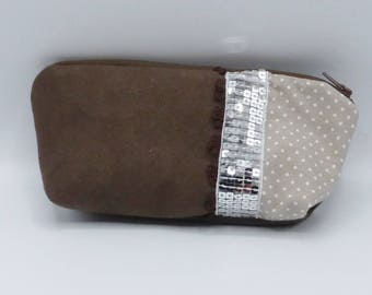 Beige and brown spotted pouch in faux suede and cotton