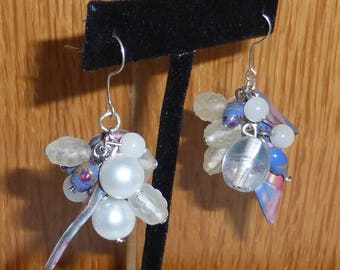 Purple and pink cluster earrings in glass beads, polymer clay and silvery metal