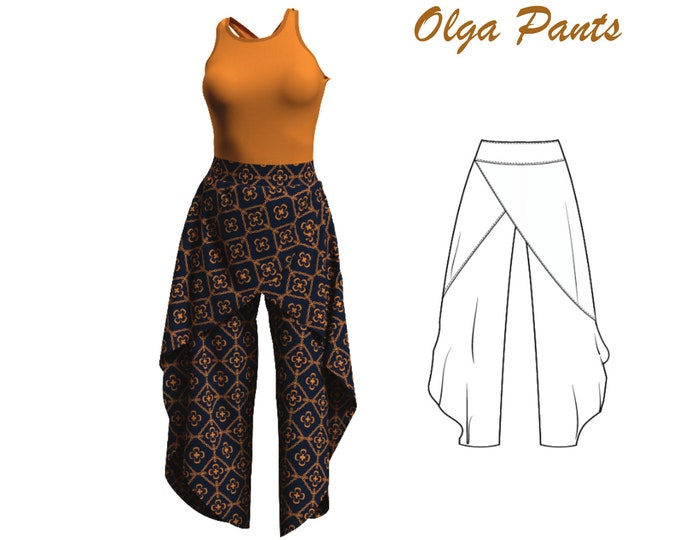 Featured listing image: Palazzo Pants Sewing Pattern, Size 8 10 12, Instant Download Woman Pants Pdf Pattern, High Waist Pants Pdf Pattern, Instant Download Pattern
