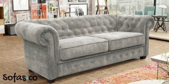 on sale 17364 42454 Sofas and co sophia chesterfield sofa bed in grey