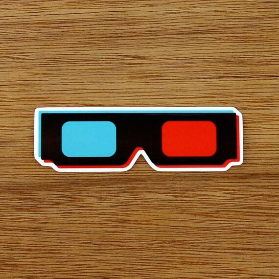 3D Glasses Vinyl Sticker LaptopBumperSkateDecal