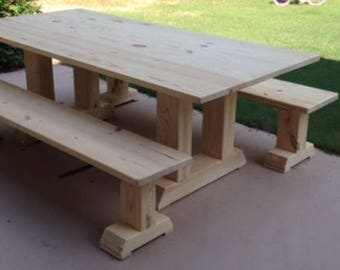 Charmant Handcrafted Farmhouse Table With Benches, Farmtable, Trestle Table *Select  Your Stain*