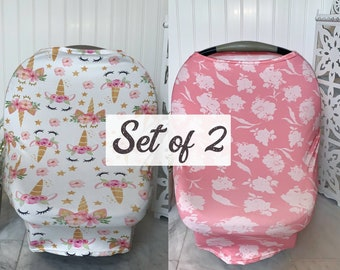 2 Pack Car Seat Cover Unicorn Pink Flowers Canopy Stretchy Multi Use Nursing Breastfeeding Baby Girl Carseat