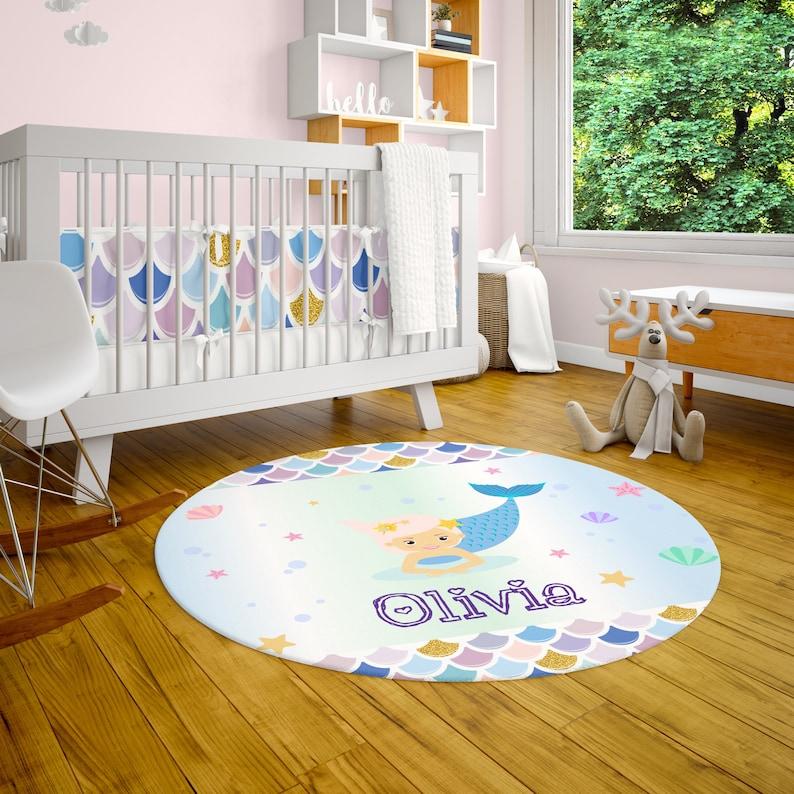 Custom Mermaid Area Rug Monogrammed Baby Rug Custom Playroom Mat Childrens Bedroom Carpet Personalized Nursery Rug Customized Kids Rug