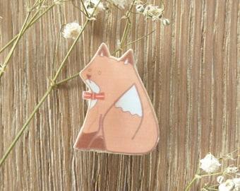 Bow Tie Fox / wooden cute lolita pin /