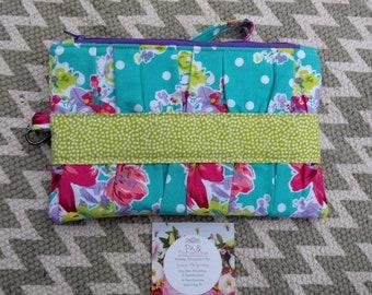 Floral Clutch Wristlet, Clutch Wristlet with Removable Strap, Gathered Clutch Wristlet