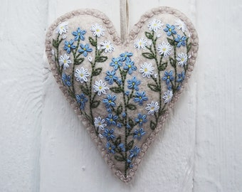 Forget-me-not 'Camille' Hanging Heart Hand Embroidery Kit - DIY Embroidery Kit, DIY Home Decor, Needlework Kit, Hand Embroidery