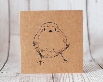 Screen Printed Bird Card - Greetings Card, Blank Card, Birthday, Father's Day, Get Well Soon