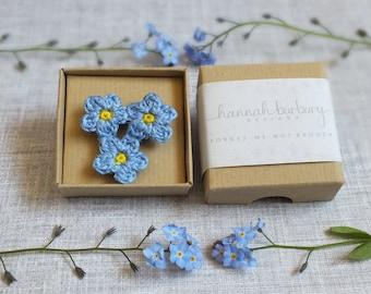 Forget-Me-Not Crochet Flower Brooch - Flower Corsage, Crochet Flower, Gifts For Women