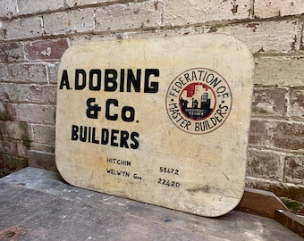 Hand Painted Advertising   Vintage   Master Builders Sign   A. Dobing & Co.   Welwyn   Hitchin