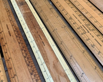 Vintage Wooden Rulers   1960's   Engineering Scale Rule   Precision Divided   Engineers Drafting Tool   Architects Drawing Equipment