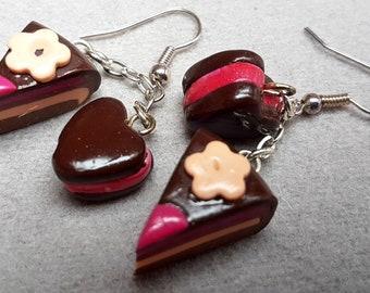 chocolate strawberry vanilla cake/cookie/handmade item/design/jewelry gift/trendy/unique jewelry/fimo/impressive/cute