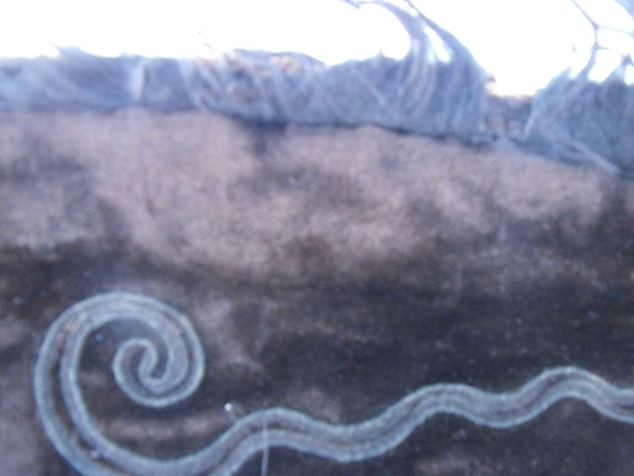 Victorian cape, black embroidered velvet, origina… - image 6