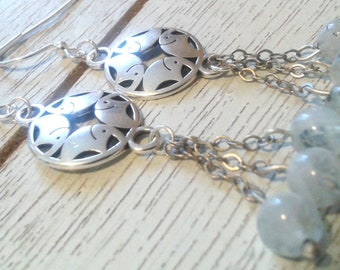 Silver Charm and Moonstone Earrings/Handmade/Everyday Wear/Special Occasion/Gift It