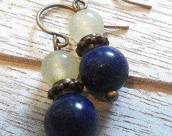 Lapis and Jade Earrings/Handmade/Antique Look/Everyday Wear/Special Occasion/Gift It