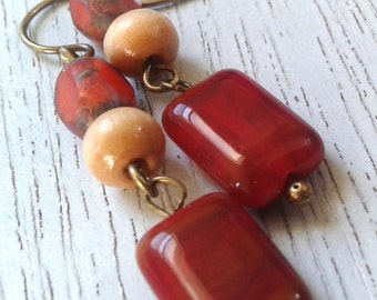 Brick Red and Wood Earrings/Handmade/Everyday Wear/Gift It
