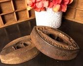 Enterprise Sad Iron, Antique sad iron, Enterprise iron No. 50, Pat Oct 1. 67, Enterprise MFG Philadelphia, late 1800 39 s sad iron Set of Two