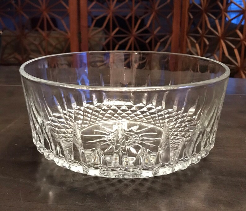 Arcoroc France Cut Glass Bowl Star Burst Diamond Crystal Vintage