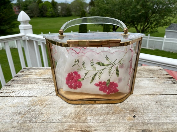 Majestic Vintage Hexagon Clear Lucite Handbag - ci