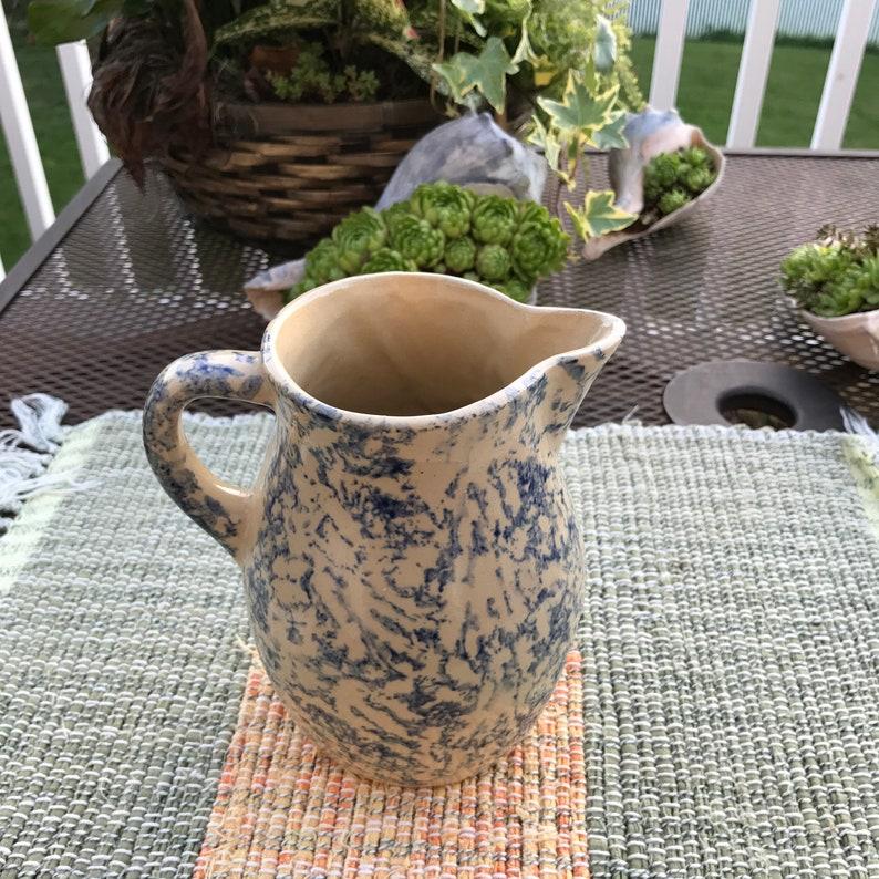 Roseville Ohio Stoneware Pitcher / Vintage Roseville / Blue Spongeware /  Rustic Farmhouse Kitchen Décor Retro USA Ohio/