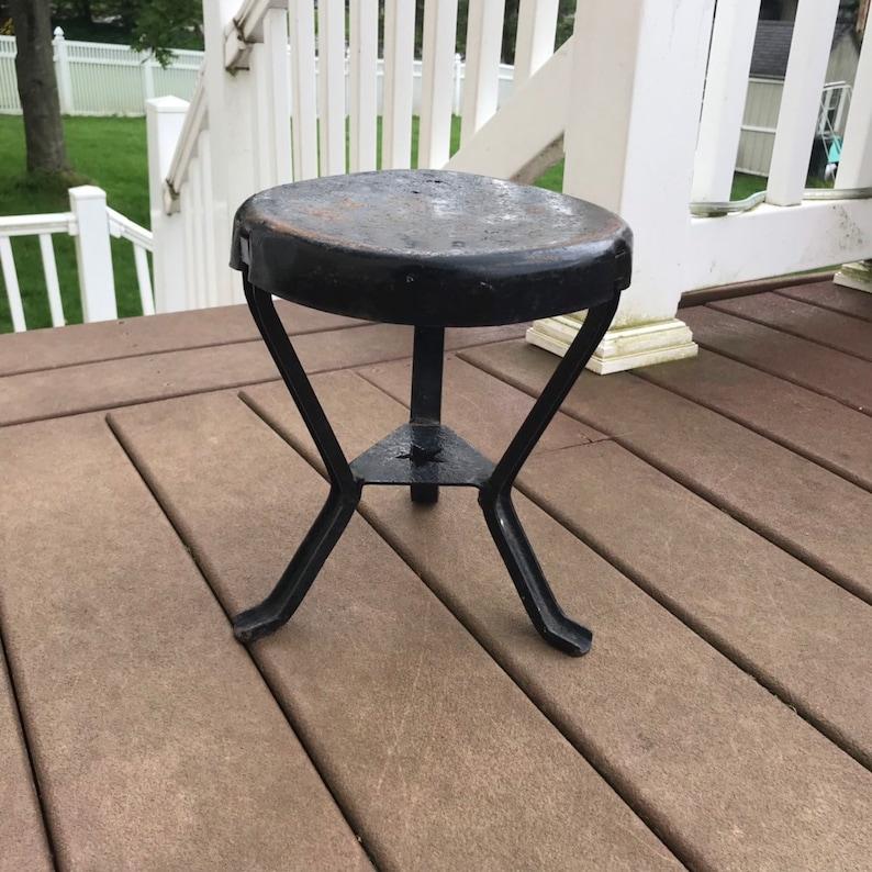 Starline Metal Stool Vintage metal milk stool Rare milk stool 3 legged milk stool VintasticCo