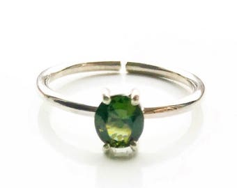 Green Tourmaline Adjustable Ring