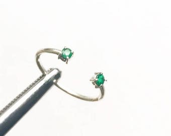 Birthday Anniversary gift Emerald Open engagement stackable silver Ring