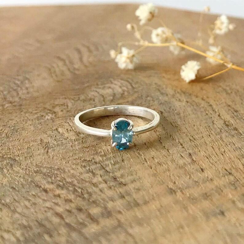 Birthday Anniversary gift Blue Topaz Silver engagement Ring for women