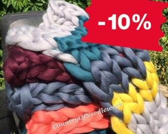 Discount!!! Sale of blankets from the availability. Chunky knit blanket, In stock, Blanket knitted, 100% merino wool.