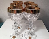 Set of 6 Bleikristall thumbprint crystal gold rimmed wine goblets, made in Germany