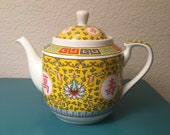Vintage Chinese Famille Rose yellow teapot
