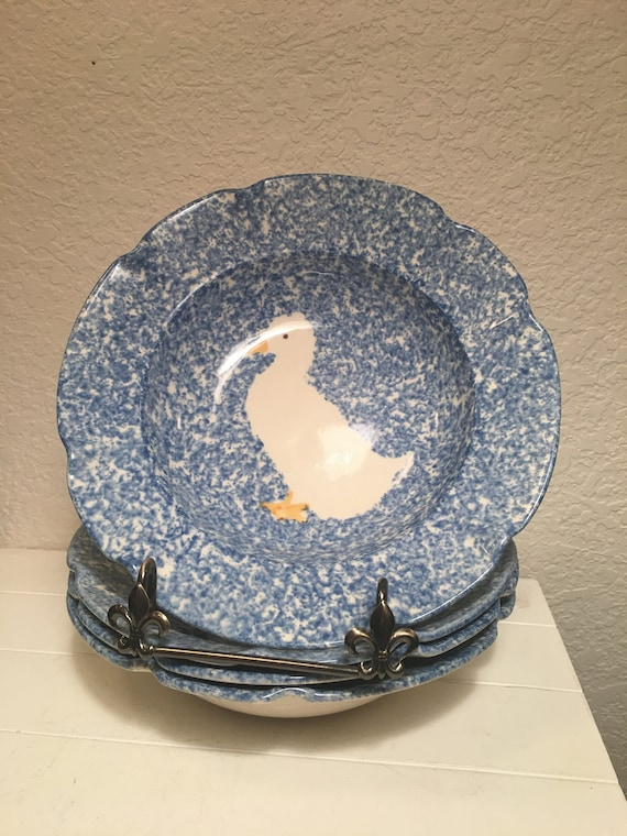 Set of 4 Blue Stipple with Duck by Los Angeles dinner plates