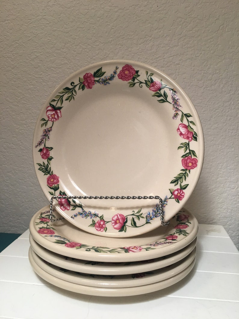 Set of 5 Henn Pottery La Petite Fleur salad plates