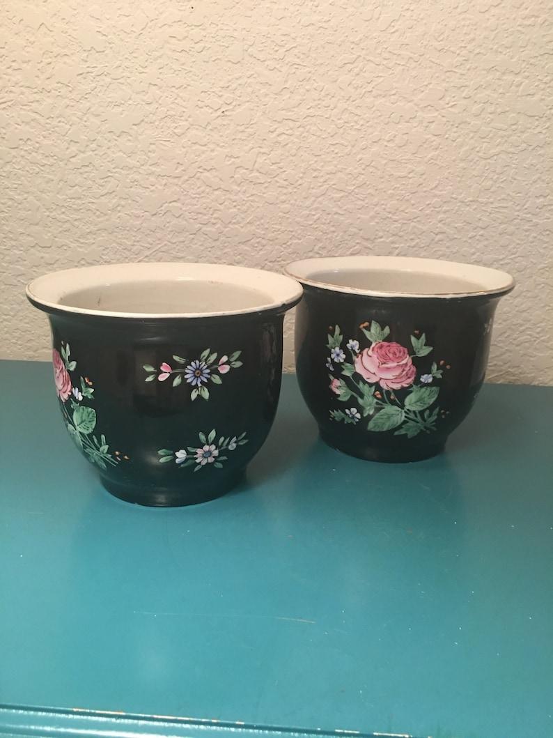 Pair of vintage Chinese black floral fish bowlsplanters