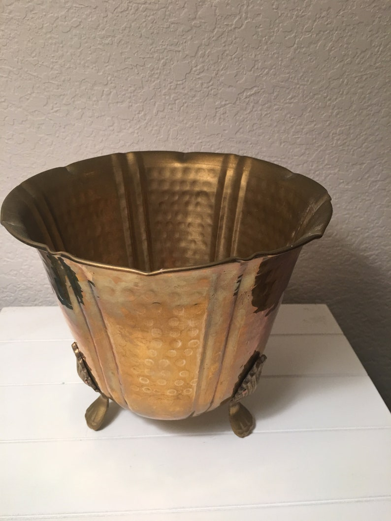 Hand wrought hammered brass footed planter