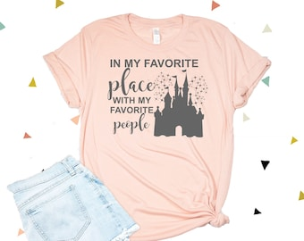 In My Favorite Place With My Favorite People Super Soft Triblend Tee. Disneyland Unisex Tee. Cute Disney Shirt. Disneyworld shirt.[V1052]