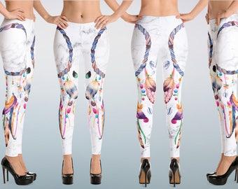 25ec9e15c0e1e Colorful White Marble Dream Catcher Leggings, Burning Man Yoga Pants, Gift  for Yoga Lovers, Buddhist Festival Spiritual Yoga Pants