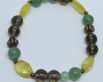 Green Aventurine, Citrine, Smokey Quartz Crystal Gemstone Bracelet, Healing: Letting Go!!!