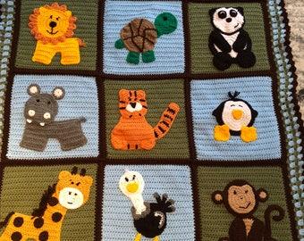 Crochet Zoo Blanket Etsy